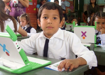 Children in Classroom in Paraguay with laptops